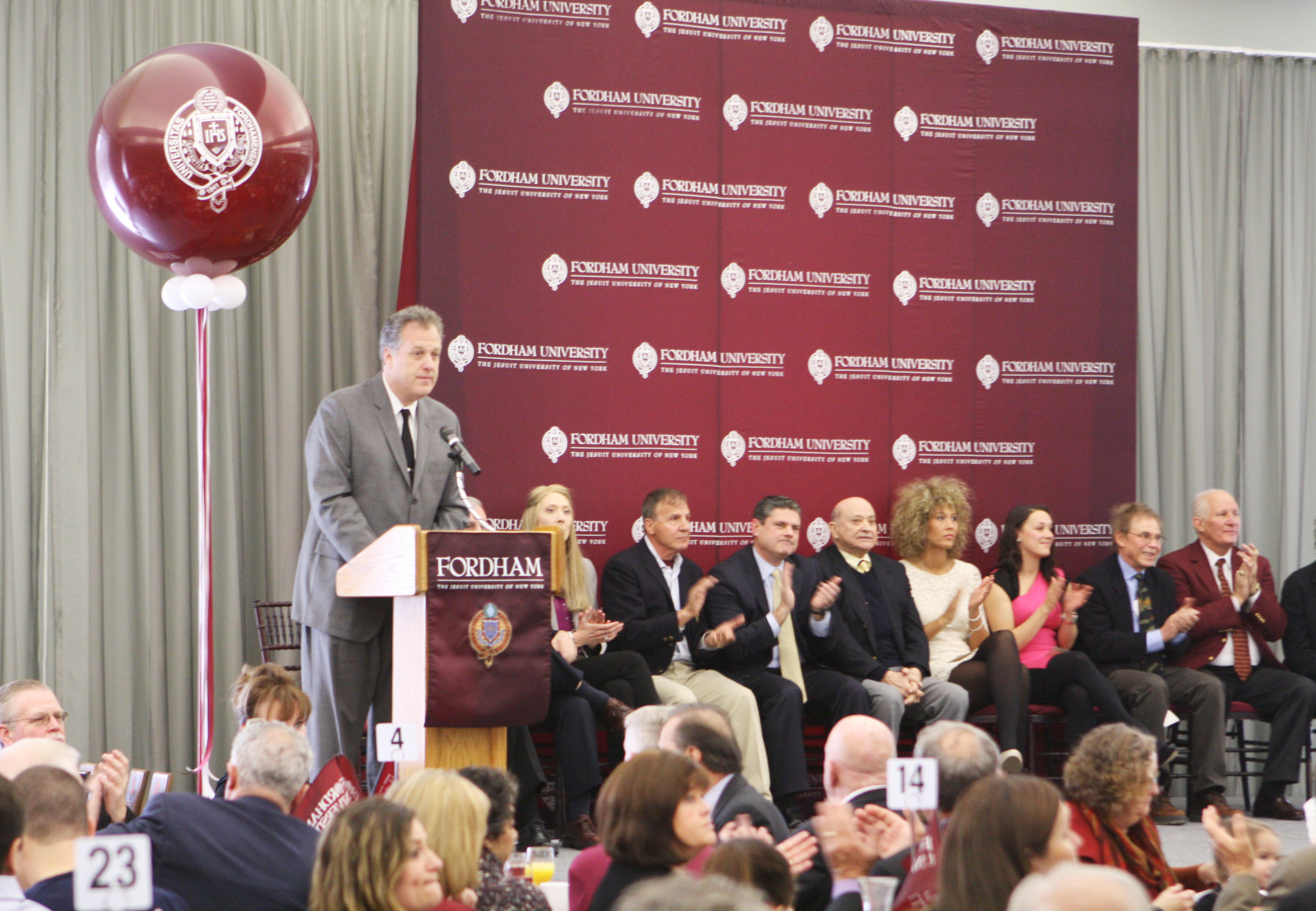 MICHAEL HAYES/THE RAM The 10 newest inductees to the Fordham Athletic Hall of Fame were honored at a ceremony on Saturday morning, as well as at the men's basketball game against Rhode Island later that day.