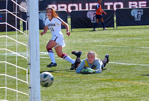 Maria Lorena Canicatti scored Fordham's first goal of the game in the team's 3-1 win against Rhode Island.  (Photo by Andrew Esoldi/The Ram)