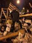 Austin Wood, an American living in Moscow, poses on a barricade in Kiev. (Courtesy of Austin Wood)