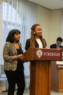 Tochi Mgbenwelu, FCRH '15 and running partner Anisah Assim, FCRH '16, also verbalized their ideas in the debate.