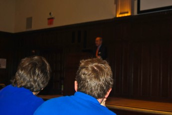 Kudlow spoke in Keating 1st to about 150 students (Photo by Joe Vitale/The Ram)