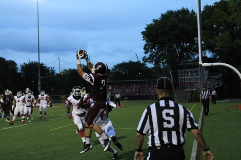 Brian Wentzel makes a catch in the end zone during the game. The Rams won 53-23 against St. Francis (PA) Samuel Joseph/The Fordham Ram