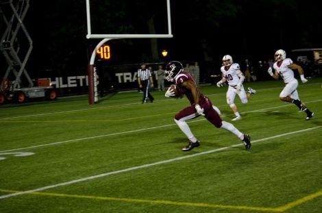 Senior Tebucky Jones's touchdown catch in the second quarter was the top play on Friday night's SportsCenter. (Samuel Joseph/ The Ram
