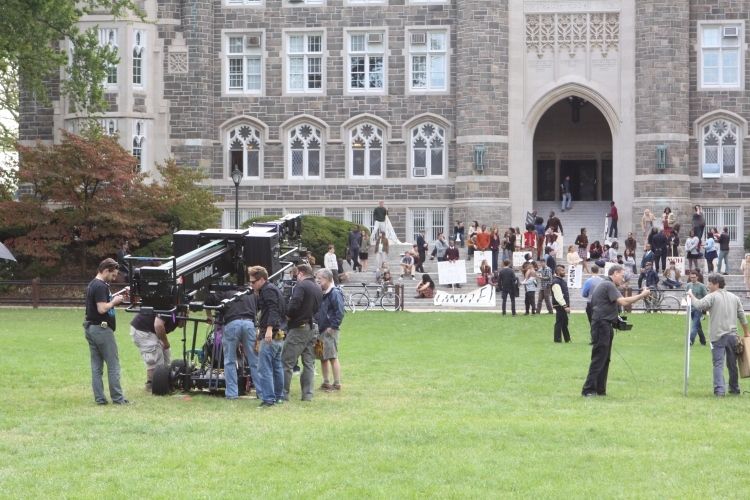Tuesday's filming of a commercial for GANT Clothing illicited some feelings of frustration among the student body. FilmingSamuelJoseph Samuel Joseph/The Ram