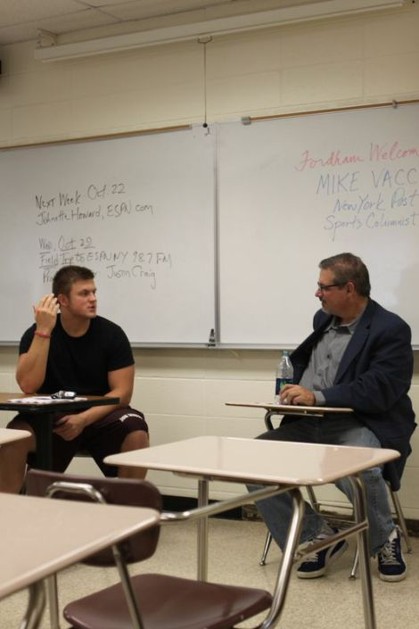 Mike Vaccaro spoke with students about how he developed his writing craft. (Anthony Pucik/The Ram)