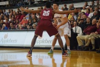 The men's basketball team was unable to fend off a strong Saint Joseph's team. Andrea Garcia/The Fordham Ram