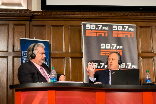 Don LaGreca (left) and Michael Kay put on their Monday show live from Keating Hall. (Andrea Garcia/The Fordham Ram)