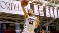 Anna Kelly drives to the basket. She had 16 points in the loss to VCU. (Courtesy of Fordham Athletics)
