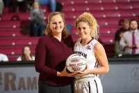 Hannah Missry is honored for scoring her 1000th point. (Courtesy of Fordham Athletics)