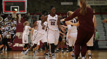 Senior Danielle Burns and the Rams won their final regular season game. (Courtesy of Fordham Athletics)