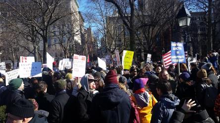 Fordham Graduate students helped organize a general strike in downtown Manhattan. (Courtesy of Facebook)