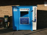 The Goodwill bins on campus are used most while students are moving out, but other students donate throughout the year (Courtesy of Wikimedia).